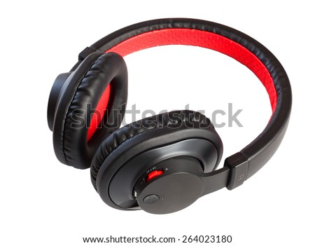 Wireless bluetooth stylish headphones isolated on white.