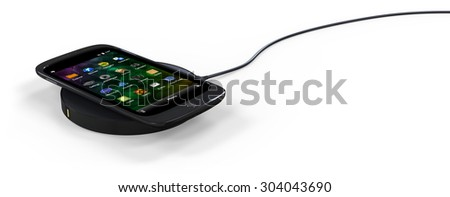 Wireless charger pad isolated on white - stock photo
