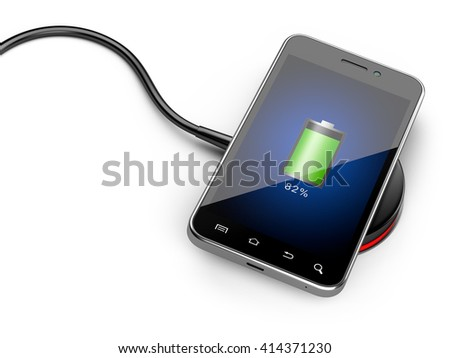 Wireless charging of smartphone. 3D image isolated on white background