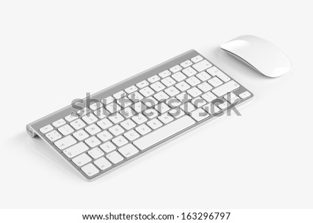 Wireless computer keyboard with the English alphabet and mouse are isolated on white background