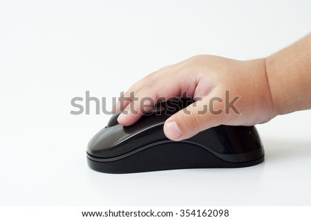 Wireless computer mouse and little hand on white background.