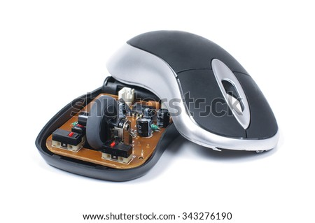 Wireless computer mouse dismantle isolated on the white background - stock photo