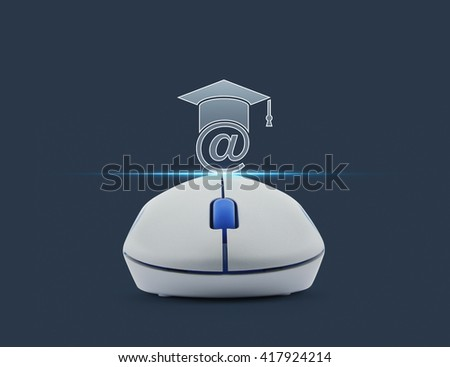 Wireless computer mouse with e-learning icon over blue background, Study online concept - stock photo