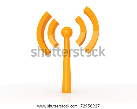 Wireless. 3D rendered Illustration. Isolated on white.