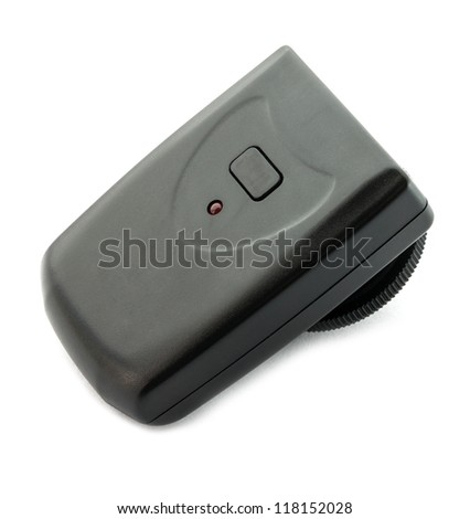 Wireless flash transmitter for a SLR camera. - stock photo