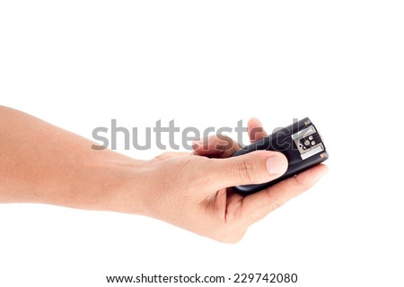 Wireless Flash Trigger in hand, Isolate on white background