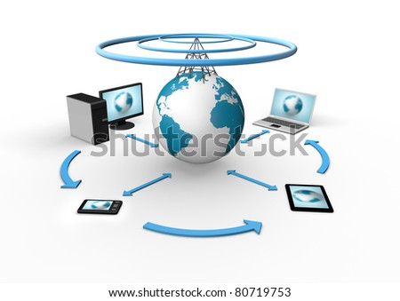 Wireless global cloud concept - stock photo