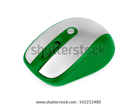 wireless green computer mouse isolated on white background - stock photo