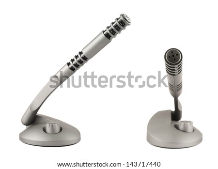 Wireless grey plastic microphone transmitter isolated over white background, set of two