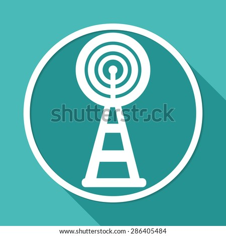 Wireless Icon on white circle with a long shadow - stock photo