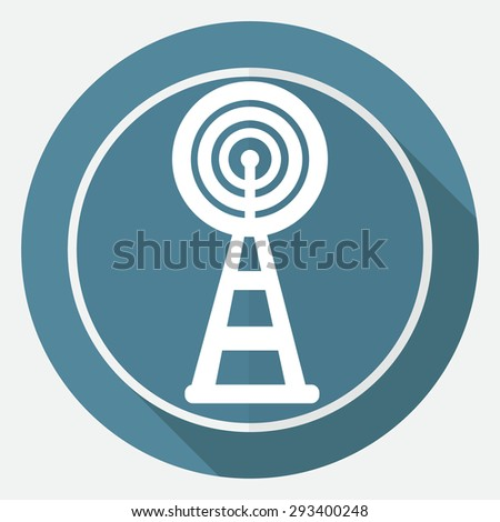 Wireless Icon on white circle with a long shadow