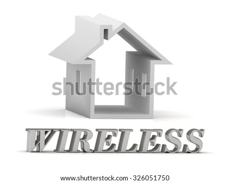 WIRELESS- inscription of silver letters and white house on white background - stock photo