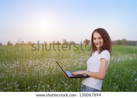 wireless internet, smiling woman with laptop