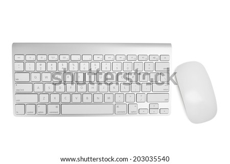 Wireless keyboard and mouse with clipping path - stock photo