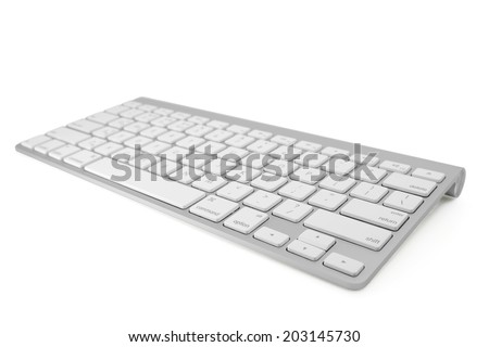 Wireless metallic keyboard isolated on white