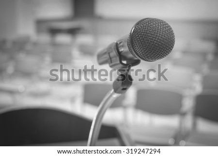 Wireless Microphone in conference room,Back and white image