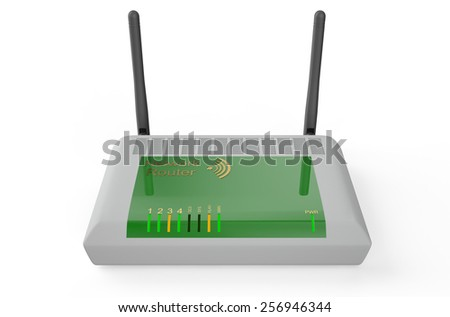 Wireless modem/router isolated on white background - stock photo