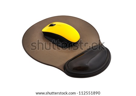 wireless mouse and mouse pad  on a white background