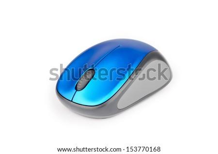 Wireless mouse closeup on white background - stock photo