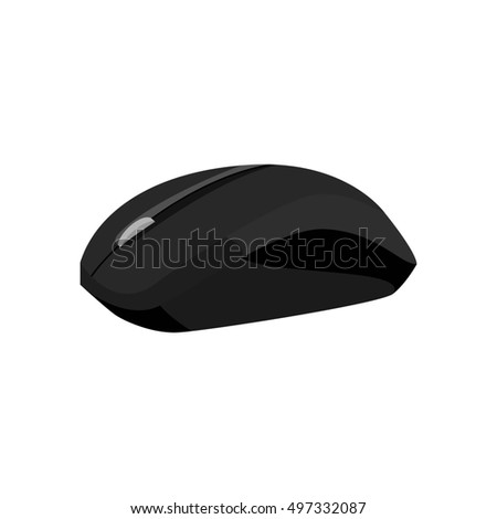 Wireless mouse icon in black monochrome style isolated on white background. Equipment symbol  illustration