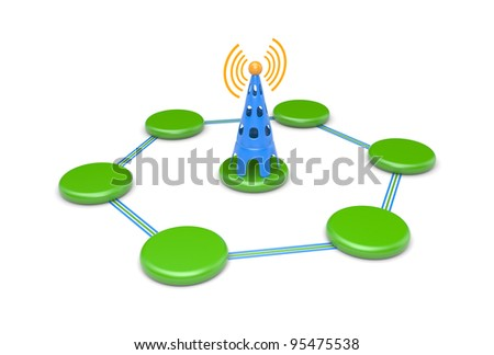 Wireless network - stock photo