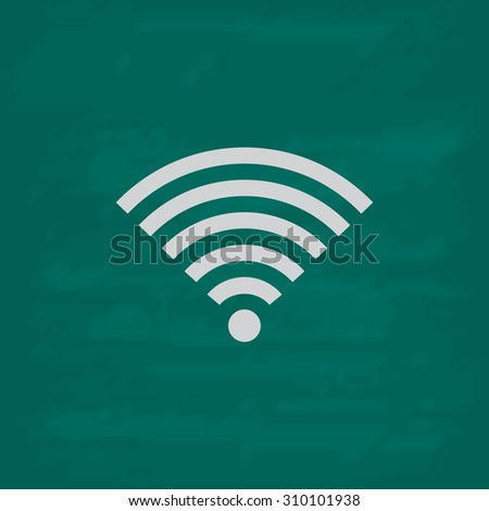 Wireless Network.  Icon. Imitation draw with white chalk on green chalkboard. Flat Pictogram and School board background. Illustration symbol - stock photo