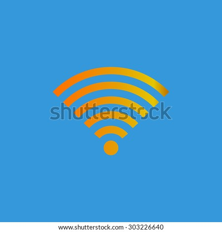 Wireless Network. Simple flat icon on blue background - stock photo