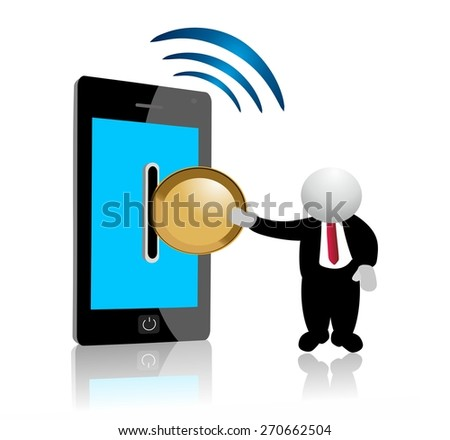 wireless paying with a mobile phone - stock photo