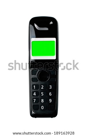 Wireless phone. Cordless phone with green screen display isolated on white background. - stock photo