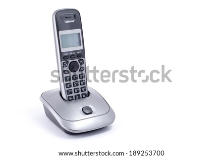 wireless phone on white - stock photo