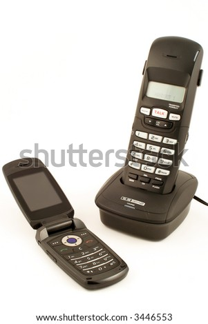 wireless portable handsets used for the home with  charger and cellular phone
