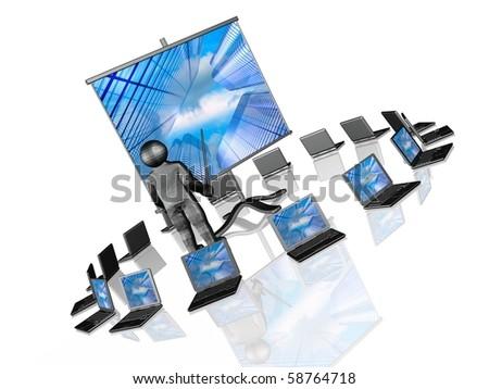 Wireless presentation - notebooks and presentation stand on white background. - stock photo
