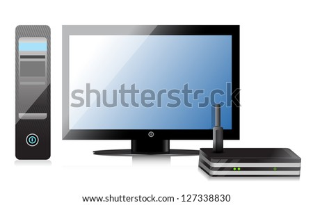 Wireless Router and computer illustration design over a white background