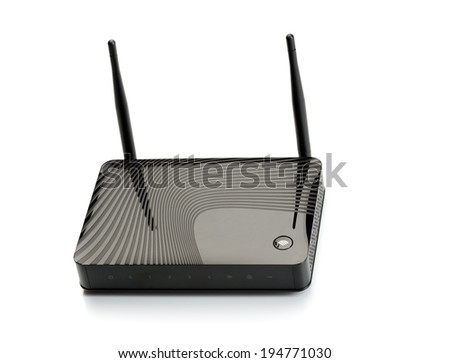 Wireless router for internet connections. Isolate on white. - stock photo