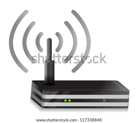 Wireless Router illustration wi-fi connection design over a white background - stock photo