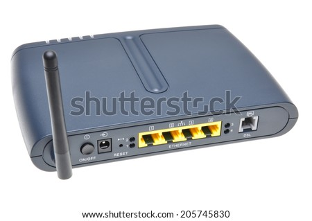 Wireless router isolated on white background - stock photo