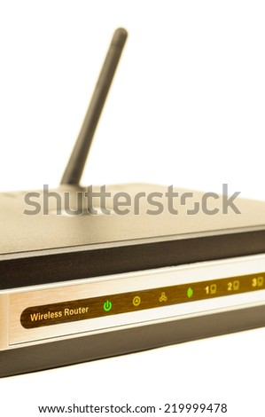 Wireless router. Isolated on white background. - stock photo