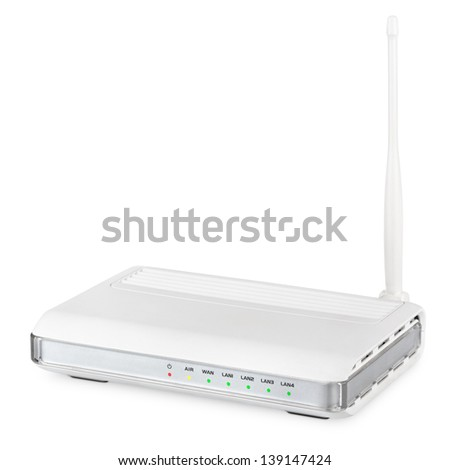 Wireless router isolated on white background with clipping path - stock photo
