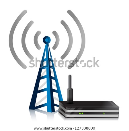 Wireless Router tower illustration design over a white background - stock photo