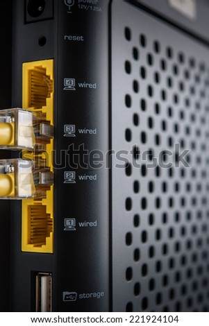 Wireless router with cable connected - stock photo
