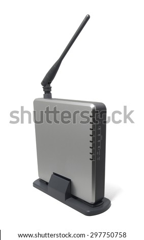Wireless Router with the antenna isolated on white background.Modern wireless router.High speed internet connection, computer network and telecommunication technology concept. - stock photo
