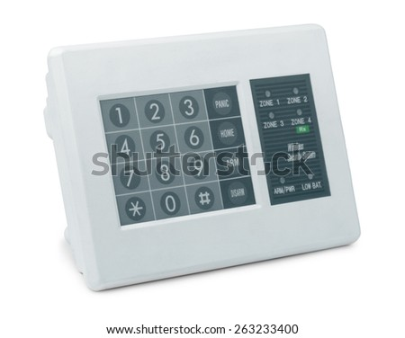 Wireless security system control pad isolated on white - stock photo