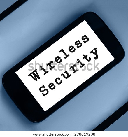 Wireless Security word on smartphone page.  - stock photo