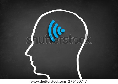 Wireless signal in head. Communication concept.