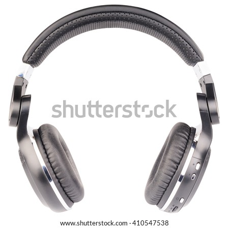 Wireless stereo headphones front view isolated on the white