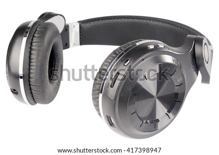 Wireless stereo headphones isolated on the white background