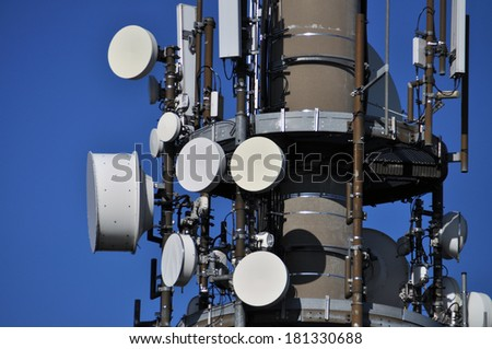 wireless technical equipment on a transmitter mast. platform with the devices in eye level, no worm's-eye view - stock photo