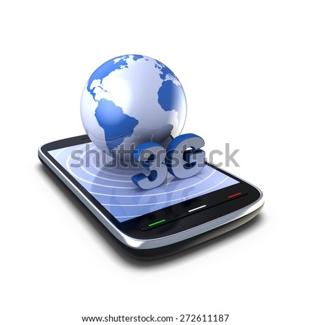Wireless Technology. 3D smartphone and globe on a white background.
