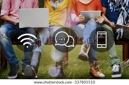 Wireless Technology Online Messaging Communication Concept - stock photo
