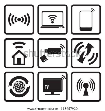Wireless technology web icons set - stock photo